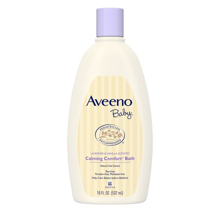 Baby Shower Soap (Aveeno Baby Calming Comfort Tear-Free Bath, Hypoallergenic, 18 fl. oz)