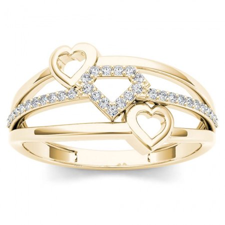 1/10ct TW Diamond 10K Yellow Gold Stacked Heart Fashion Ring