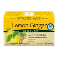(3 Boxes) Bigelow Herbal Tea, Lemon Ginger Plus Probiotics, Tea Bags, 18 Ct