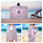 Stylish Shawl Rectangular Yoga Mat Beach Towel Beach Mat Bikini Cover with Printings for Women