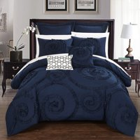 Chic Home 11-Piece Rosamond Floral Ruffled Etched Embroidery Queen Bed In a Bag Comforter Set Navy With sheet set