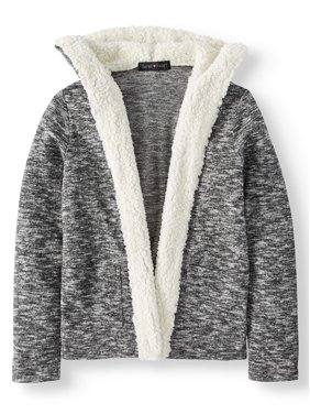 Open Front Cardigan Sweater with Sherpa Collar and Hood (Big Girls)
