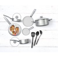 Food-E Ceramic Non-Stick 12-Piece Cookware Set, Silver