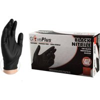 GlovePlus Black Nitrile Industrial Disposable Gloves, Small by AMMEX