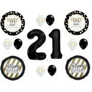 21st Happy Birthday Black Gold Party Balloons Decoration