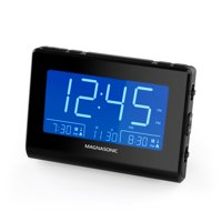 "Magnasonic Alarm Clock Radio with Battery Backup, Dual Gradual Wake Alarm, Adjustable Brightness, Daylight Savings Time, Large 4.8"" LED Display, AM/FM, Sleep Timer, Day/Date Display (CR61)"