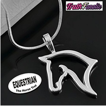 Equestrian Jewelry - Silver Horse Fashion Accessories For Adults, Women & Teens - The Equestrian Collection Is An EASY Perfect Gift Idea (Horse Pendant Necklace - Horse Head 18 inch chain) ()