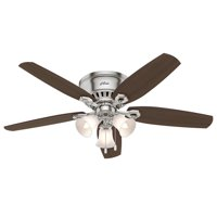 "Hunter 52"" Builder LP w 3 Lights 52 inch Brushed Nickel Ceiling Fan with Light"