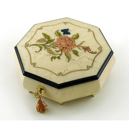 Immaculate Ivory Stain Octagonal Music Jewelry Box, Rose & Butterfly Inlay - 12 Days of Christmas - SWISS