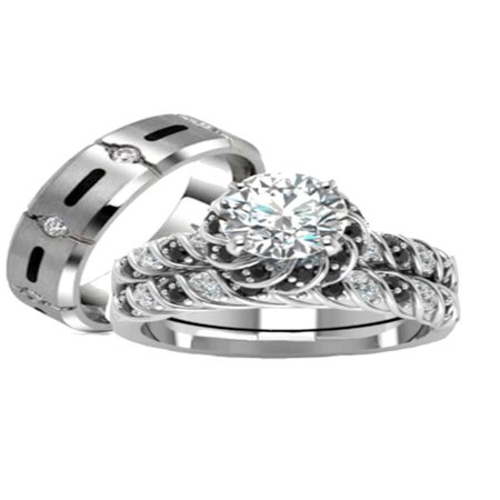 His Hers 3 Piece 925 Sterling Silver and Titanium  CZ  Wedding Ring Set ()