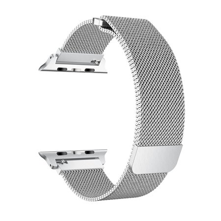 For Apple Watch Band 38mm, Stainless Steel Mesh Milanese Loop with Adjustable Magnetic Closure Replacement iWatch Band for Apple Watch Series 3 2 1 (38mm Silver)
