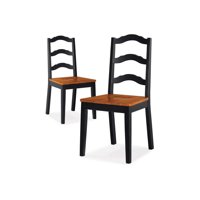 Better Homes and Gardens Autumn Lane Ladder Back Dining Chairs, Set of 2, Black and Oak