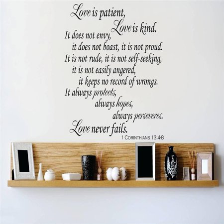 Custom Wall Decal Vinyl Sticker : Love is patient Love is kind It does not envy, it does not boast, it is not proud Quote Home Decor - Love Is Kind Love Is Patient