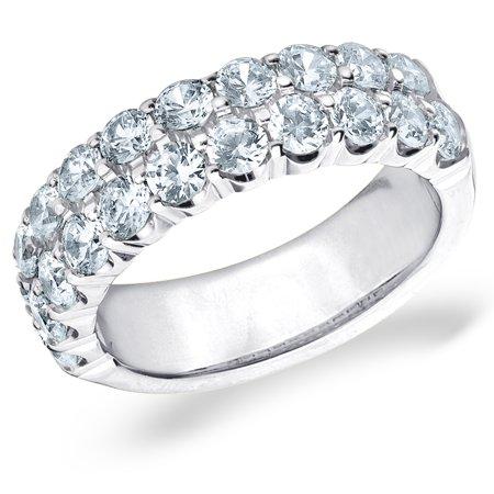 2 CT 2 Row Diamond Wedding Band in White Gold, 2 CT 2 Row Diamond Anniversary (2 Ct Diamond Wedding Rings)