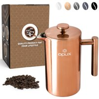 OPUX Premium Insulated Double Wall French Press | 4 Cup Stainless Steel Coffee Press Pot with 4 Layer Filtration System for Pour Over, Espresso | (34 fl oz)