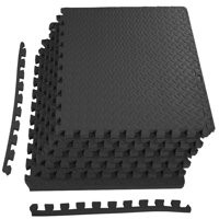 "Everyday Essentials 3/4"" Thick Flooring Puzzle Exercise Mat with High Quality EVA Foam Interlocking Tiles, 6 Piece, 24 Sq Ft, Black"