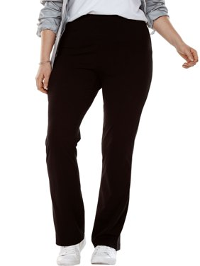 Woman Within Plus Size Petite Stretch Cotton Bootcut Yoga Pant