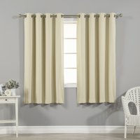 """Quality Home Thermal Insulated Blackout Curtains - Stainless Steel Nickel Grommet Top - Beige - 52""""W x 63""""L - (Set of 2 Panels)"""