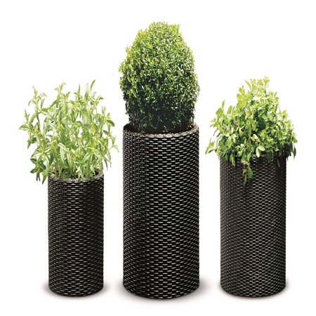Keter Rattan Cylinder 3-Piece Planter Set, Brown Wicker