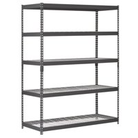 "Muscle Rack 60""W x 24""D x 78""H Five-Shelf Heavy-Duty Steel Shelving Unit, Black"