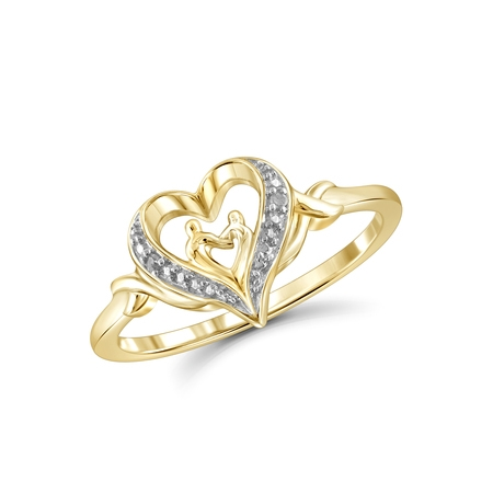 - White Diamond Accent 14k Gold Over Silver Mother and Child Heart Ring