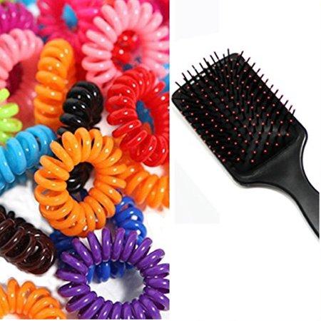 Hair Brush With Cord Twisted Plastic Gummy Hair Bobbles Elastics Ponytail