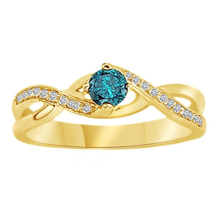 Round Cut Blue & White Natural Diamond Solitaire Engagement Ring In 14K Solid Yellow Gold