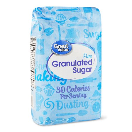 Great Value Pure Granulated Sugar, 10 (25% Less Sugar)