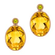 31450664d 2.32 Ct Oval Citrine Canary Diamond Gold Plated Sterling Silver Earrings