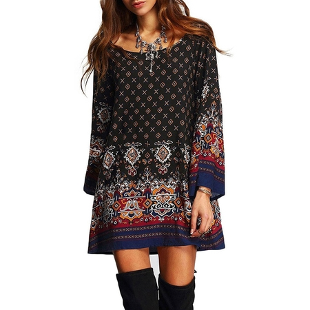 Collection Beaded Neckline Dress (BOHO Womens Casual Floral Printed Dress Loose Long Tops Ladies Summer Party Crew Neck T Shirt Short Mini Dresses)