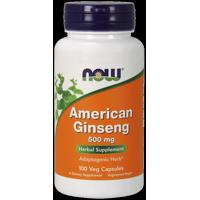 NOW American Ginseng 500 mg Vegetarian Capsules, 100 Ct