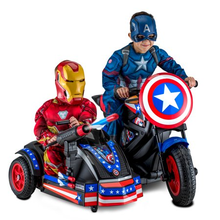 - Kid Trax 12-Volt Captain America Motorcycle Ride-On