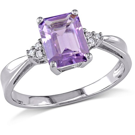 1-2/5 Carat T.G.W. Amethyst and Diamond-Accent 10kt White Gold Solitaire
