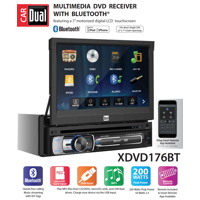 Dual Electronics XDVD176BT 7-inch LED Backlit LCD Multimedia Retractable & Detachable Touch Screen Single Din Car Stereo with Built-In Bluetooth, iPlug, CD/DVD Player & USB/microSD Ports