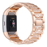 For Fitbit Charge 2, bayite Replacement Metal Bands with Rhinestone Adjustable Fitbit Charge 2 Bands Bracelet Rose Gold