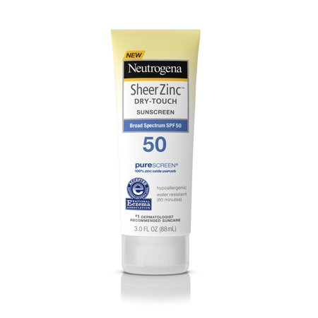 (3 pack) Neutrogena Sheer Zinc Dry-Touch Sunscreen Lotion with SPF 50, 3 fl. oz - Hypoallergenic Zinc Sunscreen