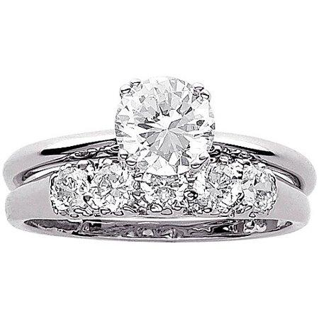 Cubic Zirconia Wedding (3.4 Carat T.G.W. CZ Wedding Ring Set in Sterling)