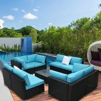 Kinbor 9pcs Outdoor Patio Furniture Sectional Pe Wicker Rattan Sofa Set