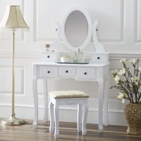 Fineboard Single Mirror Dressing Table Set Five Organization Drawers Vanity Table with Wooden Stool, White
