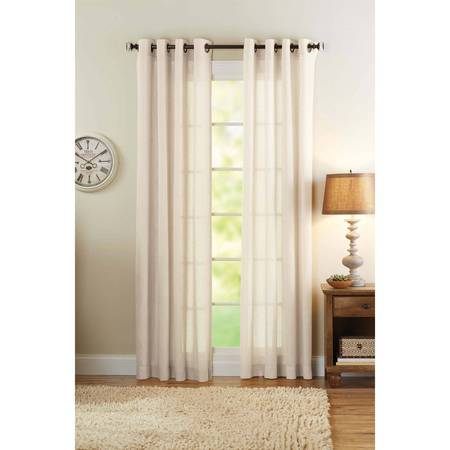 Better Homes & Gardens Semi-Sheer Grommet Curtain Panel, Bleached (Home Linen)