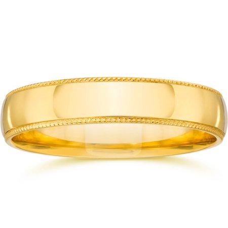 5mm Milgrain Wedding Band 14K Yellow