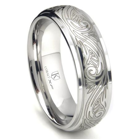 Cobalt XF Chrome 8MM Laser Engraved Paisley Motif Dome Wedding Band Ring Sz 10.0
