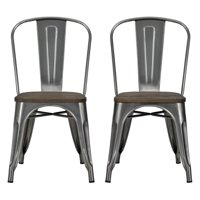 DHP Fusion Metal Dining Chair with Wood Seat, Set of two, Antique Gunmetal