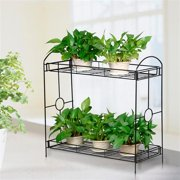 Indoor/Outdoor 2-Tier Metal Flower Stand Plant Stand Rack w/Tray Design Garden & Home Black,33.5 x 13.4 x 31.9in. (W x D x H)