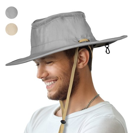 Sun Blocker Outdoor Boonie Sun Protection Hat Mesh Bucket Hat Wide Brim Camping Hiking Fishing Hunting Boating Safari Cap with Adjustable (Gray Jeep Hat)
