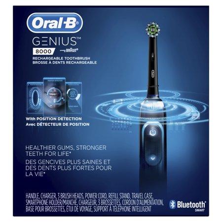 e0772c794f7fd5 Oral-B 8000 Electronic Toothbrush, Black, Powered by Braun - Walmart.com