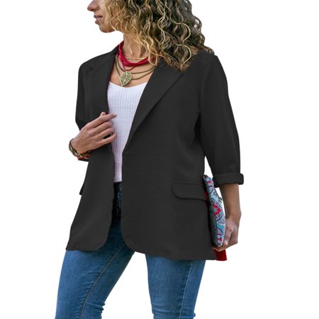 Stylish Fashion Women Long Sleeve Cardigan Casual Lapel Blazer Suit Jacket Top Coat Outwear Black & White Blazer