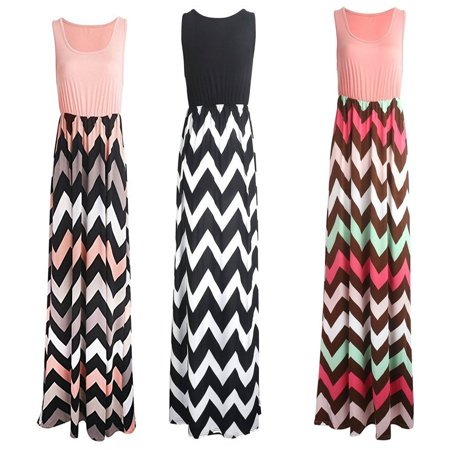 Womens Wave Striped Summer Beach Dress Party Long Maxi Dresses