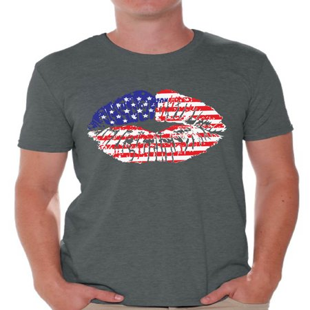 Awkward Styles American Flag Men's T Shirt Tops Lips Shirts for Men USA Flag Stars and Stripes Lips Tee Shirt Red White & Blue Lips Tshirt 4th of July Gift Independence Day Party Outfit for Men