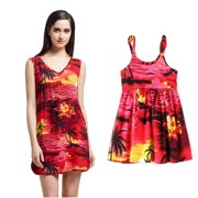 303b1711bd2 Matching Mother Daughter Hawaiian Luau Outfit Lady Tunic Slip on Dress Girl  Dress Red Sunset L